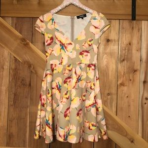 LuLu's Floral Print Skater Dress